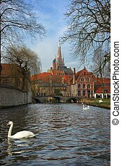 Bruges, brugge view - A view of one of the oldes cities in...