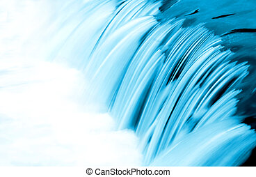 Blue Water Flow Detail - Small waterfall, blue toned, long...