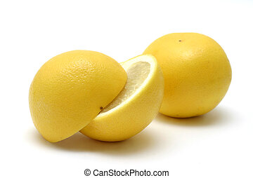 Yellow Grapefruits - Two grapefruits on white background