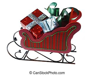 sled,presents - isolated sled and presents