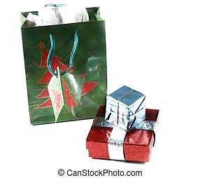 gift bag,presents - isolated gift bag and presents