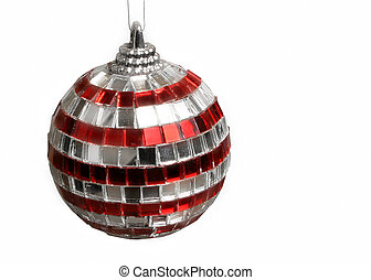 striped disco ball mirrored Christmas tree ornament