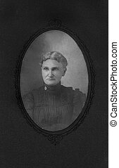 grandmother - Black & white photograph of a stern...