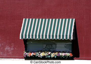 Italian Style Restaurant Window with Red Wall