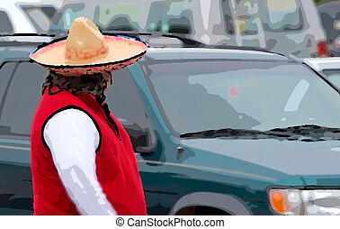 The Man in the Wide Sombrero - Illustration of a man in a...