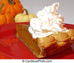 slice of pie - plate with slice of pie and whipped cream
