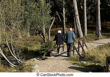 old couple - sunday walk in the forest