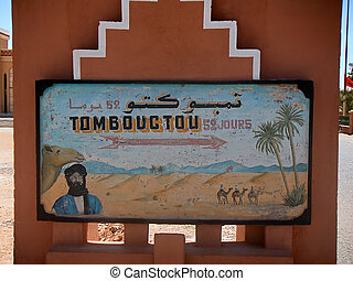 timboctou01 - sign indicating the distance from Zagora in...