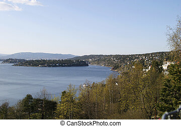 Oslo Fjord on a bright spring day, view from Ljan Train...