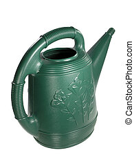 Watering Can - Green watering can over white