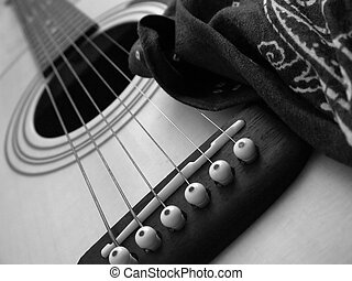 guitar and bandana in black and white