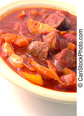 sausage peppers 140 - sausage and peppers140 focus on upper...