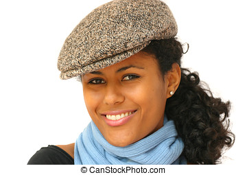 Stylish woman with tweed cap