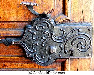Antique lock - Old door locking system.