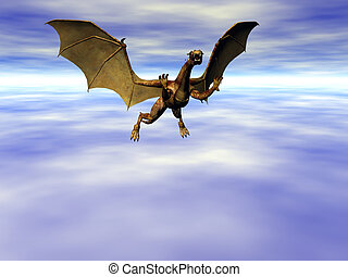 Sky Dragon - Dragon flying far above the clouds