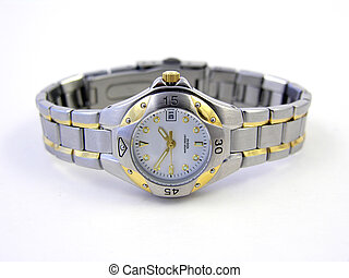 Elegant watch with white face and silver/gold band