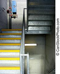stairwell - a stairwell in a parking garage