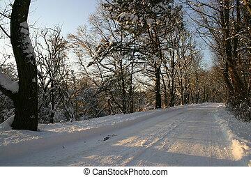 estrada, nevado