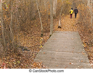 Fall In Love - This is a shot of a couple taking a Fall hike...