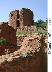 Relics - Massive adobe walls are relics of one of the oldest...
