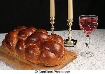 Complete Shabbat Table - A table set for Shabbat with...