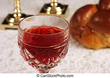 Shabbat Wine 1 - A glass of wine for Shabbat with...