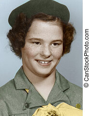 scout - young girl in scout uniform