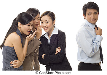 Office Gossip 2 - Three attractive young female workers...