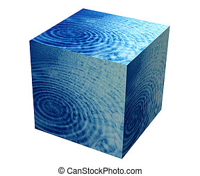 Box with water and skies – white background