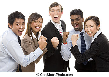 Business Winners 1 - A group of business people celebrate...
