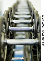 Row of Dumbbells 1 - A row of dumbbells in the gym - shallow...