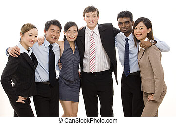 confiant, Business, équipe, 4