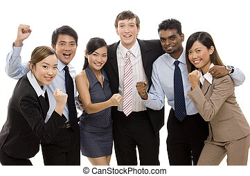 Successful Business - A diverse business team celebrates a...