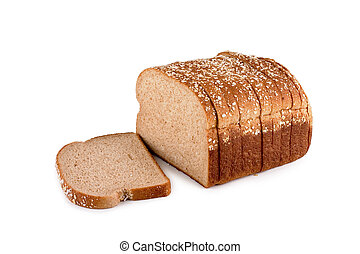 Loaf of bread - Loaf of whole wheat bread isolated on white...