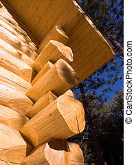 Mountain Log Home - notched corner logs on mountain home