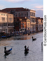 Grand Canal, Venice - Looking down the Grand Canal at sunset...