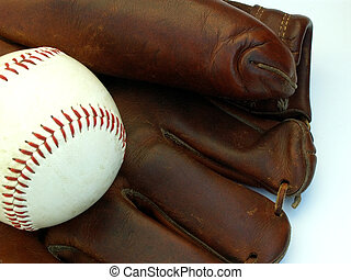 baseball gear - baseball glove and ball