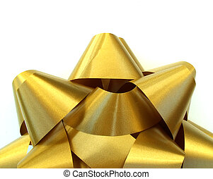 gold bow on bottom edge