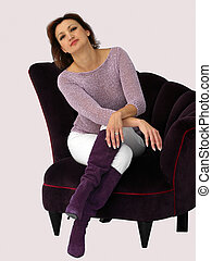 Woman in a chair - Woman in a purple chair
