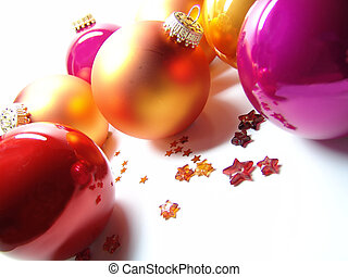 christmas baubles - orange, pink and red tree ornaments