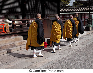 budista, grupo, monjes