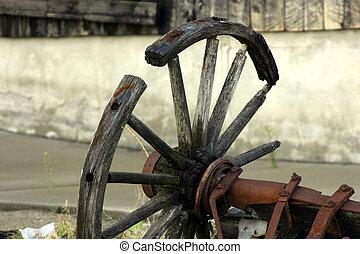 anticaglia, rotto, vecchio, ruota, carro