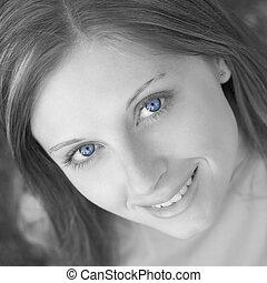 azul, ojos, mujer