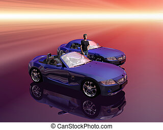 Bmw Z4 2.5 i sportscar with promotion model. - Bmw Z4 2.5 i...