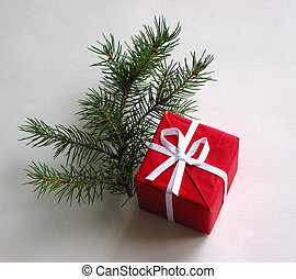 Gift box - Red gift box with Christmas tree branch