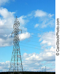 Hydro tower - Hydro power tower on the blue sky background