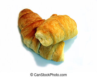 Croissants - 2 mini croissants on white background