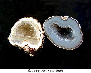 Geodes, pretas, fundo