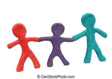 Plasticine People - Plasticine family or team holding hands