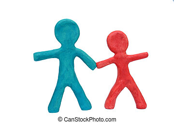 Plasticine Friends - Two plasticine figures holding hands